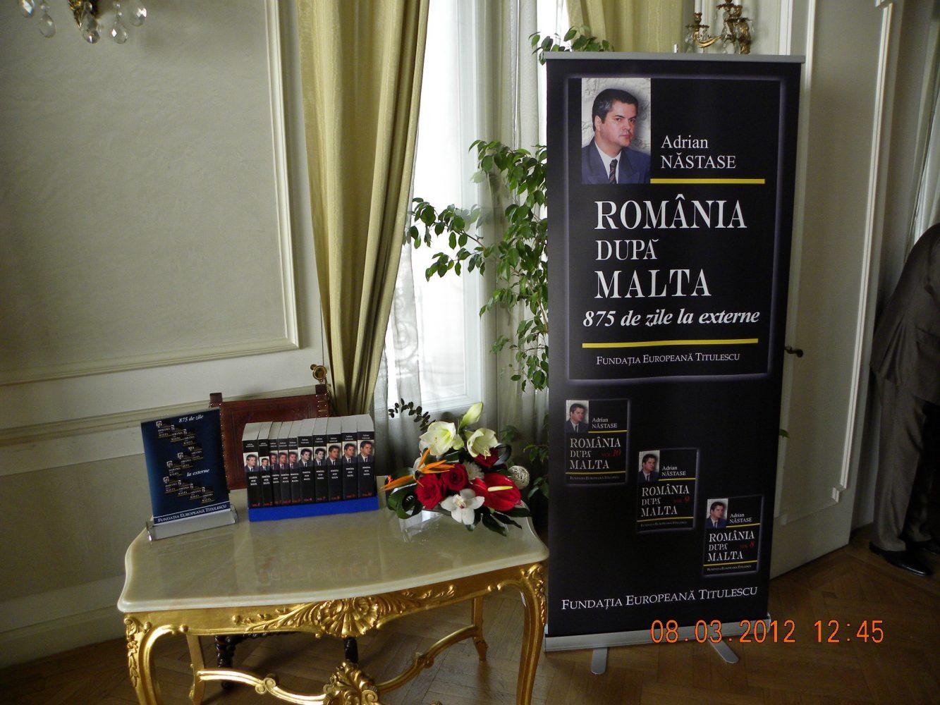"""Lansarea volumelor 8, 9 şi 10 ale lucrării """"România după Malta. 875 de zile la Externe (1 ianuarie–19 noiembrie 1992)"""", de Adrian Năstase"""