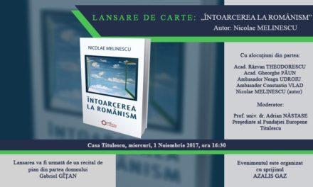 """Lansare de carte: """"Întoarcerea la românism""""."""