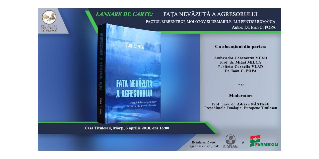 """Lansare de carte: """"Fața nevăzută a agresorului. Pactul Ribbentrop-Molotov și urmările lui pentru România"""""""