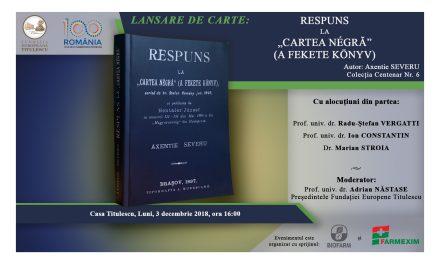 """Lansare de carte: «Respuns la """"Cartea Négră"""" (A Fekete Könyv)»"""
