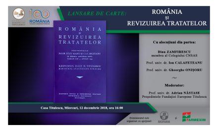 """Lansare de carte: """"ROMÂNIA ȘI REVIZUIREA TRATATELOR"""""""