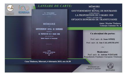 """Lansare de carte: """"Mémoire du Gouvernement Royal de Roumanie"""""""