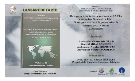 Lansare de carte: Vol. 12 – România – Supraviețuire și afirmare prin diplomație în anii Războiului Rece