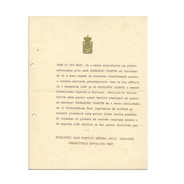 Scrisoare adresată președintelui Republicii Peru, semnată de Carol al II-lea și de Nicolae Titulescu