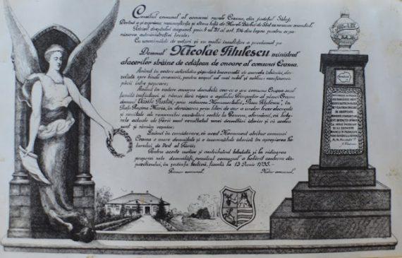 Monumentul lui Nicolae Titulescu din Crasna